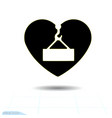 heart black icon love symbol danger overhead vector image