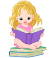 ittle girl reading a book vector image vector image