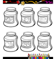 jams in jars set cartoon coloring book vector image