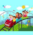 kids having fun on roller coaster vector image