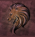 lion head grunge vector image vector image