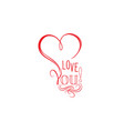 love heart calligraphic gift card valentines vector image