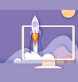 monitor screen with mountains and rocket startup vector image
