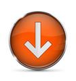 orange down button with white arrow shiny 3d icon vector image