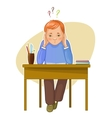 Perplexed boy during studying sitting at the desk vector image vector image