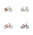 set of bike realistic symbols with vintage vector image