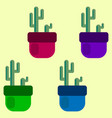 set of four colored cacti in pots vector image vector image