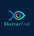 shutter fish photography logo design template vector image