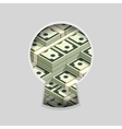 Stacks of money in keyhole vector image vector image