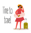 time to travel tourist hipster girl with float vector image vector image