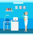 veterinary clinic interior receptionist woman vector image vector image