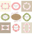 vintage photo frames and floral decor vector image vector image