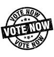 vote now round grunge black stamp vector image vector image