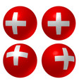 white cross on red balls - white cross on red vector image vector image