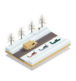 winter road landscape isometric composition vector image vector image