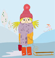 girl in scarf and with a sledge vector image