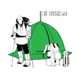 skier with tent and thermos vector image