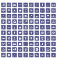 100 success icons set grunge sapphire vector image vector image