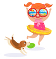 little girl in swimming suit at the beach