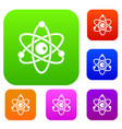 atomic model set color collection vector image vector image