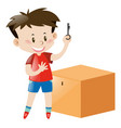 boy in red holding key of box vector image