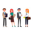 businessmen and women with digital tablets vector image vector image