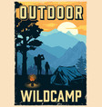 camping vintage colorful poster vector image vector image