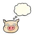 cartoon pig face with thought bubble vector image vector image