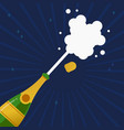 champagne party bottle splash explosion card vector image