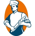 Chef cook or baker standing with rolling pin vector image vector image