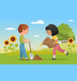 children plant seeds funny child boy holding vector image vector image