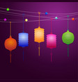 chinese lanterns hanging on the line vector image vector image
