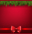christmas card with firtree border and bow vector image