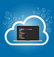 cloud online coding repository on the cloud vector image