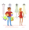 Couple is in shopping mall vector image