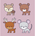 cute bear with group animals vector image
