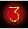 Digit 3 three Nixie tube indicator vector image vector image