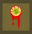 flat shading style icon halloween zombie eyes vector image vector image