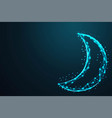 geometric moon and night sky abstract wire low vector image vector image