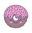 glazed sweet donut cartoon food cute flat style vector image vector image