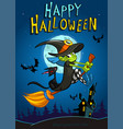 halloween witch with broomstick isolated vector image vector image
