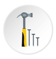 Hammer and nails icon flat style vector image vector image