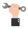 hand holding spanner flat icon colorful silhouette vector image vector image