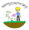 happy earth day with cild and plant vector image vector image