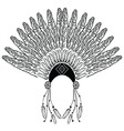 Headdress with decorative and plain feathers vector image vector image