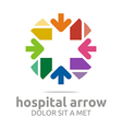 hospital arrow plus colorful icon vector image vector image