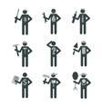 House Remodel Service Worker Set Stick Figure vector image vector image