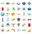 international airport icons set cartoon style vector image vector image