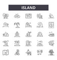 island line icons signs set outline vector image vector image