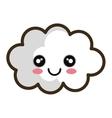 kawaii cartoon white cloud vector image